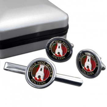 Maclean Scottish Clan Round Cufflink and Tie Clip Set