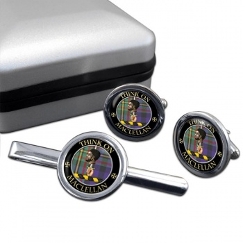 Maclellan Scottish Clan Round Cufflink and Tie Clip Set