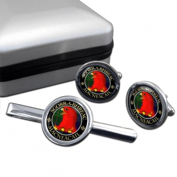 MacNeacail Scottish Clan Round Cufflink and Tie Clip Set