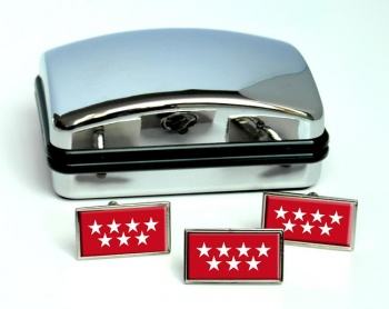 Madrid Comunidad (Spain) Flag Cufflink and Tie Pin Set