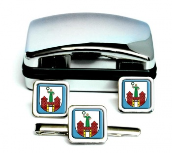 Magdeburg (Germany) Square Cufflink and Tie Clip Set