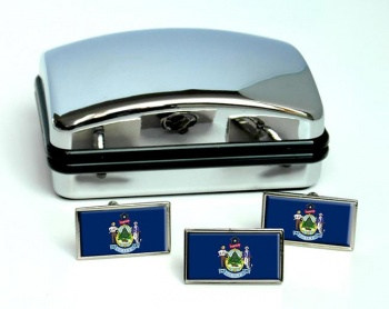 Maine  Flag Cufflink and Tie Pin Set