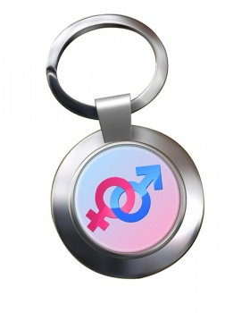 Mars and Venus Male and Female Love Match Chrome Key Ring
