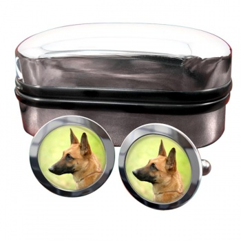 Belgian Shepherd Dog (Malinois)  Round Cufflinks