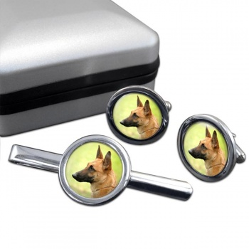 Belgian Shepherd Dog (Malinois)  Cufflink and Tie Clip Set