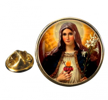 Mary Sacred Heart Round Pin Badge