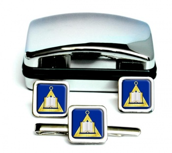 Masonic Lodge Chaplain Square Cufflink and Tie Clip Set
