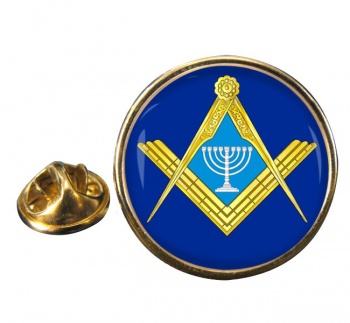 Jewish Masonic Menorah Round Pin Badge