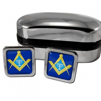 Jewish Masonic Menorah Square Cufflinks