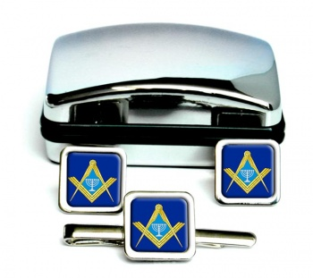 Jewish Masonic Menorah Square Cufflink and Tie Clip Set