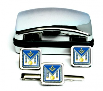 Masonic Apron Symbol Square Cufflink and Tie Clip Set