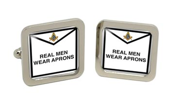 Real Men Wear Aprons Masonic Square Cufflinks in Chrome Box