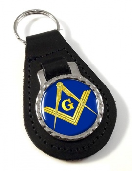 Masonic Square and Compasses Leather Key Fob