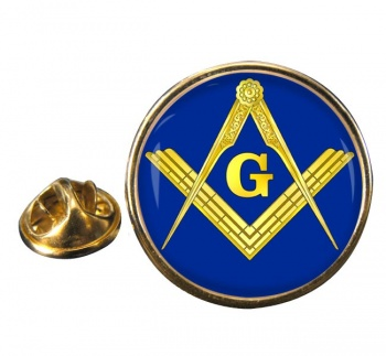 Masonic Square and Compasses Round Pin Badge
