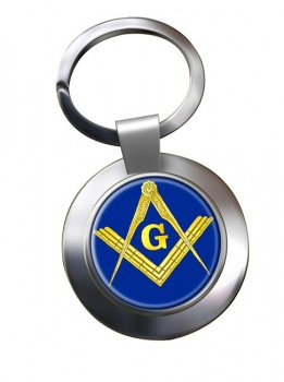 Masonic Square and Compasses Chrome Key Ring