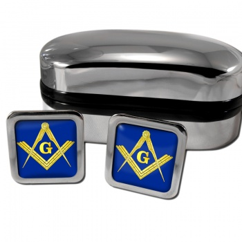 Masonic Square and Compasses Square Cufflinks