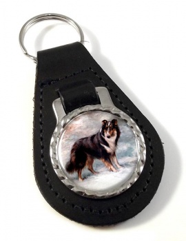 Collie by Maud Earl Leather Key Fob