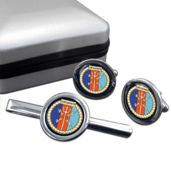 COMUKMCMFOR (Royal Navy) Round Cufflink and Tie Clip Set