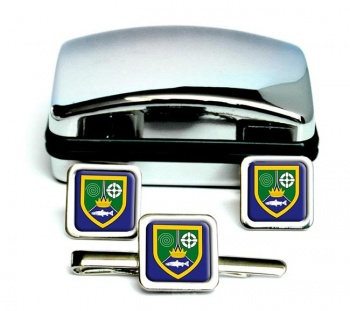 County Meath (Ireland) Square Cufflink and Tie Clip Set