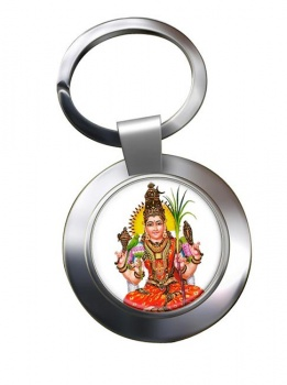 Meenakshi Minakshi Leather Chrome Key Ring