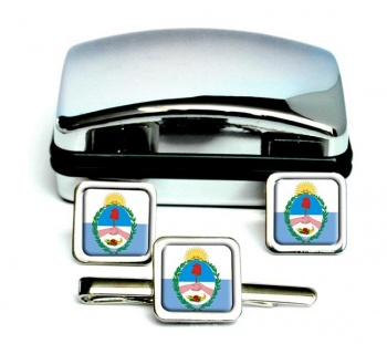 Argentine Mendoza Square Cufflink and Tie Clip Set