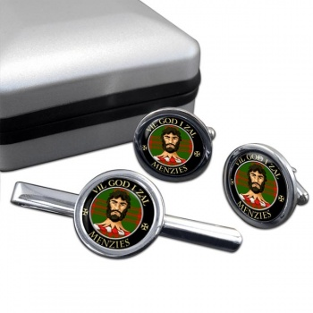 Menzies Scottish Clan Round Cufflink and Tie Clip Set