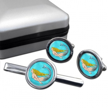 Mermaid Swimming  Cufflink and Tie Clip Set