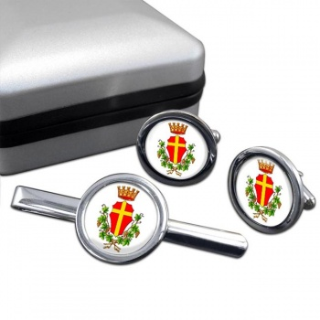 Messina (Italy) Round Cufflink and Tie Clip Set