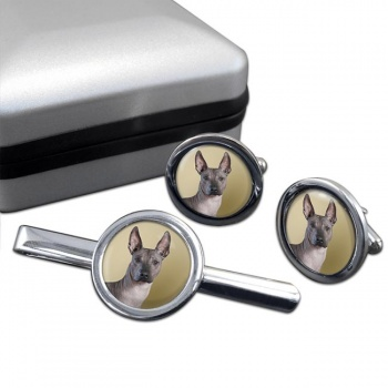 Mexican Hairless Dog  Cufflink and Tie Clip Set