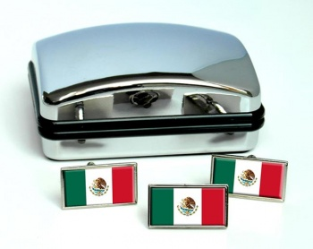 Mexico Flag Cufflink and Tie Pin Set