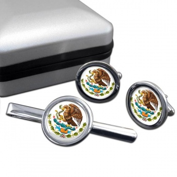 Mexico Round Cufflink and Tie Clip Set