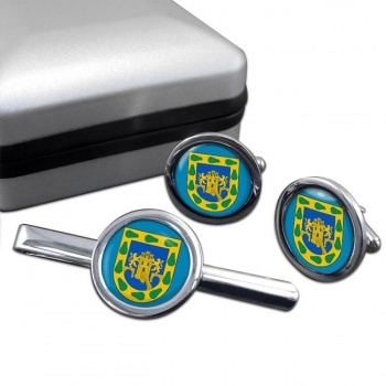 Ciudad de Mexico Round Cufflink and Tie Clip Set