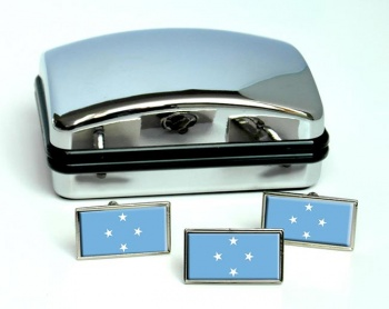 Federated States of Micronesia Flag Cufflink and Tie Pin Set