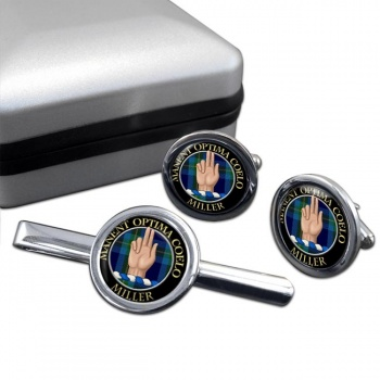 Miller Scottish Clan Round Cufflink and Tie Clip Set