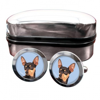 Miniature Pinscher Round Cufflinks