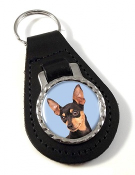 Miniature Pinscher Leather Key Fob