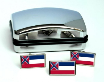 Mississippi  Flag Cufflink and Tie Pin Set