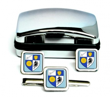 County Monaghan (Ireland) Square Cufflink and Tie Clip Set