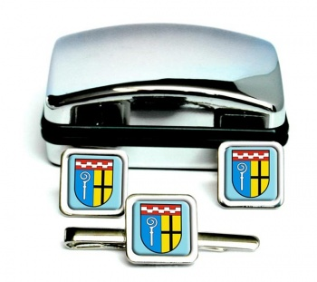 Monchengladbach (Germany) Square Cufflink and Tie Clip Set