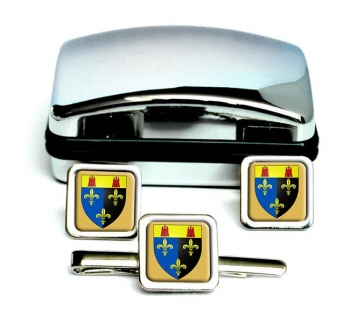 Monmouthshire-Square Cufflink and Tie Clip Set