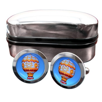 Montgolfier Hot Air Balloon Round Cufflinks
