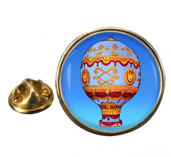 Montgolfier Hot Air Balloon Round Lapel