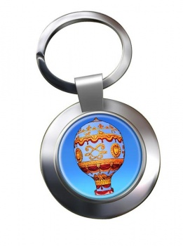 Montgolfier Hot Air Balloon Chrome Key Ring