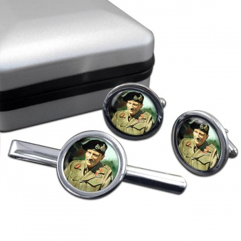 Field Marshal Bernard Law Montgomery Round Cufflink and Tie Clip Set