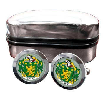 Moore Irish Coat of Arms Round Cufflinks