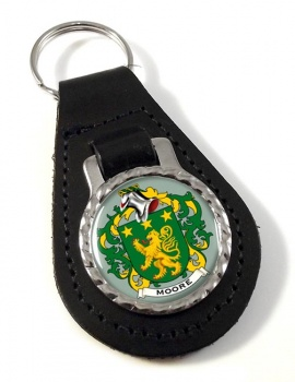 Moore Irish Coat of Arms Leather Key Fob