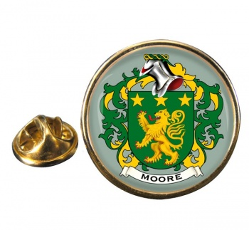 Moore Irish Coat of Arms Round Pin Badge