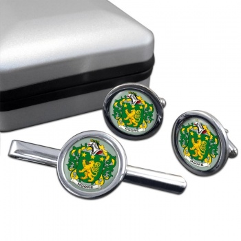 Moore Irish Coat of Arms Round Cufflink and Tie Clip Set