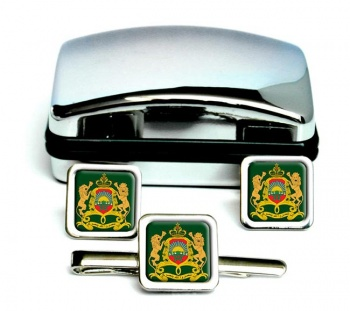 Morocco-Square Cufflink and Tie Clip Set
