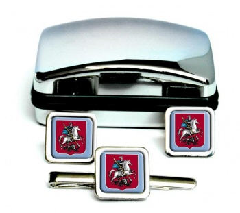 Moscow Square Cufflink and Tie Clip Set